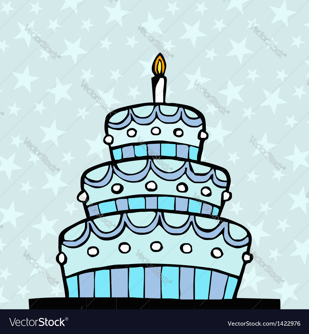 Light blue birthday cake Royalty Free Vector Image