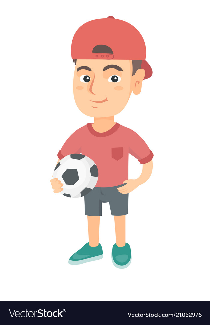Little caucasian boy holding a football ball