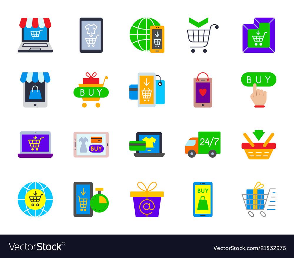 Online shop simple flat color icons set