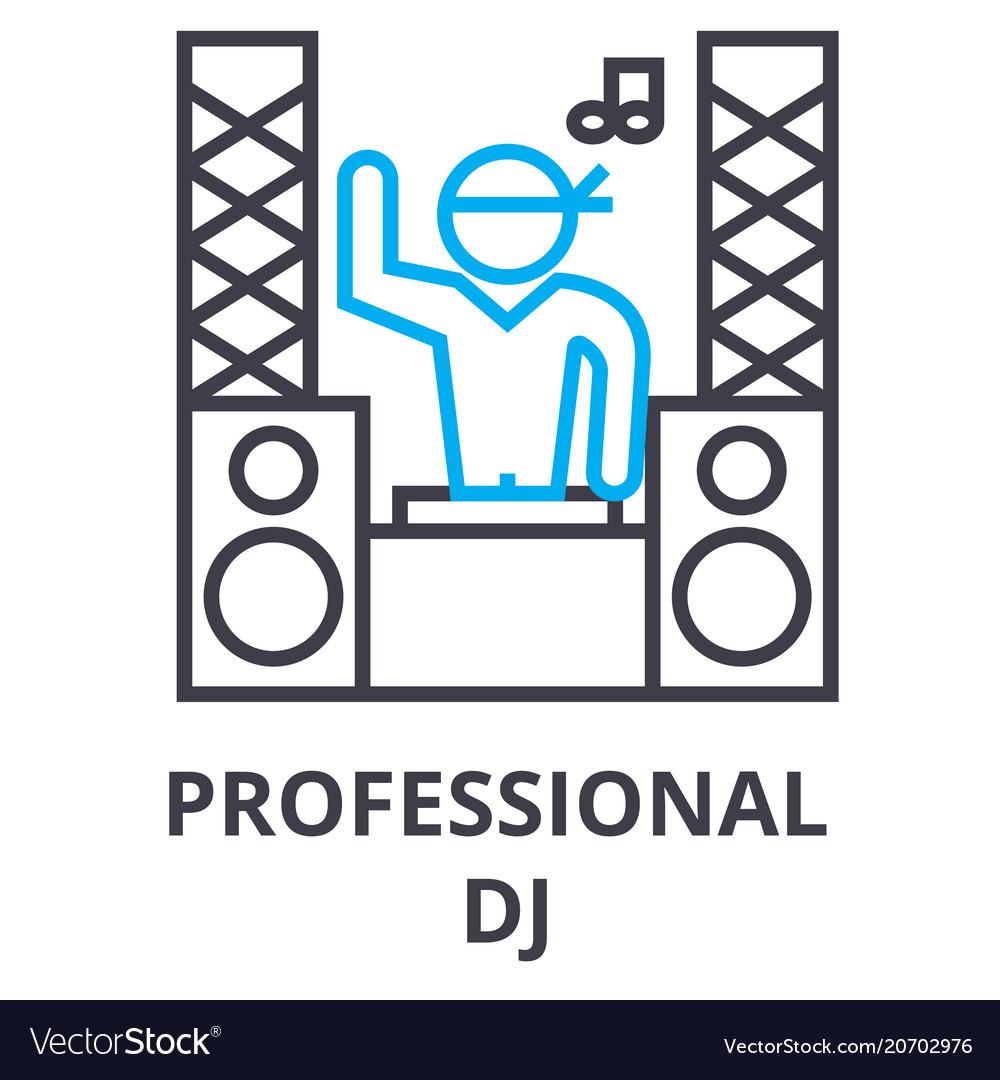 Professional dj thin line icon sign symbol