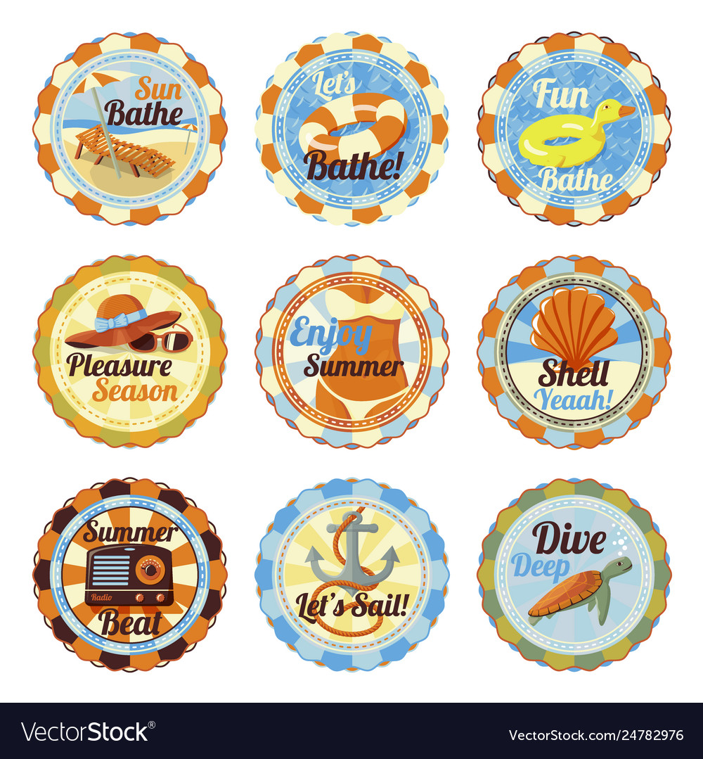 Set- cute bright summer badges with slogans