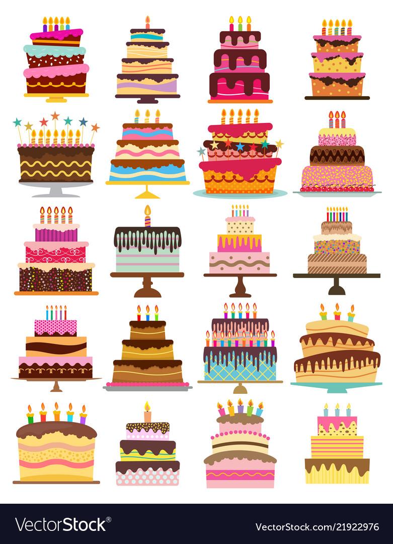 Set of twenty sweet birthday cakes