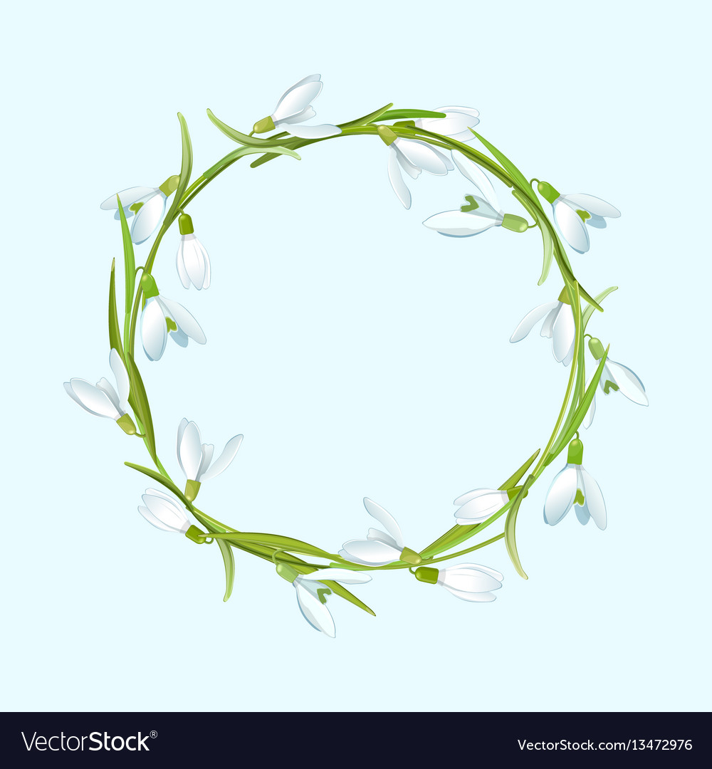 Spring with snowdrops flower wreath