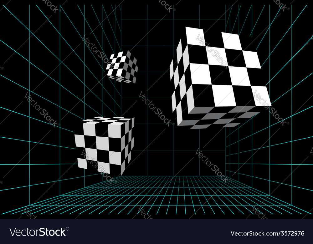 Wired room with checkered cubes