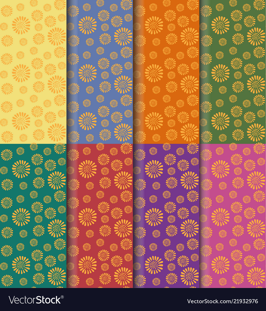 Yellow flower pattern seamless set on colorful