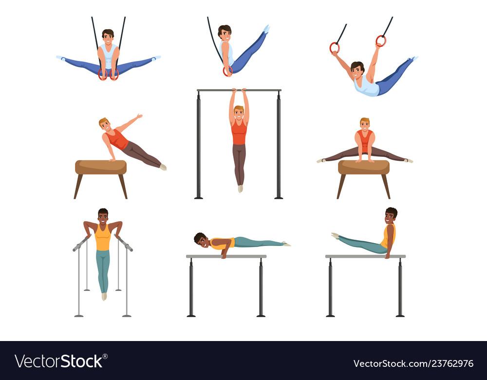 Young guys training on various gymnastics