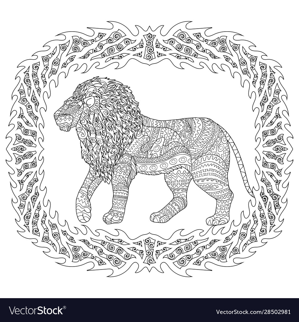 Tiger Head. Adult Antistress Coloring Page. Colored Hand Drawn ... | 1080x1000
