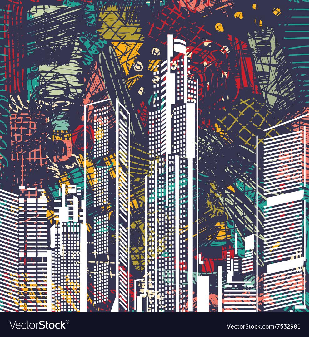 Art sky scraper abstract city view night landscape
