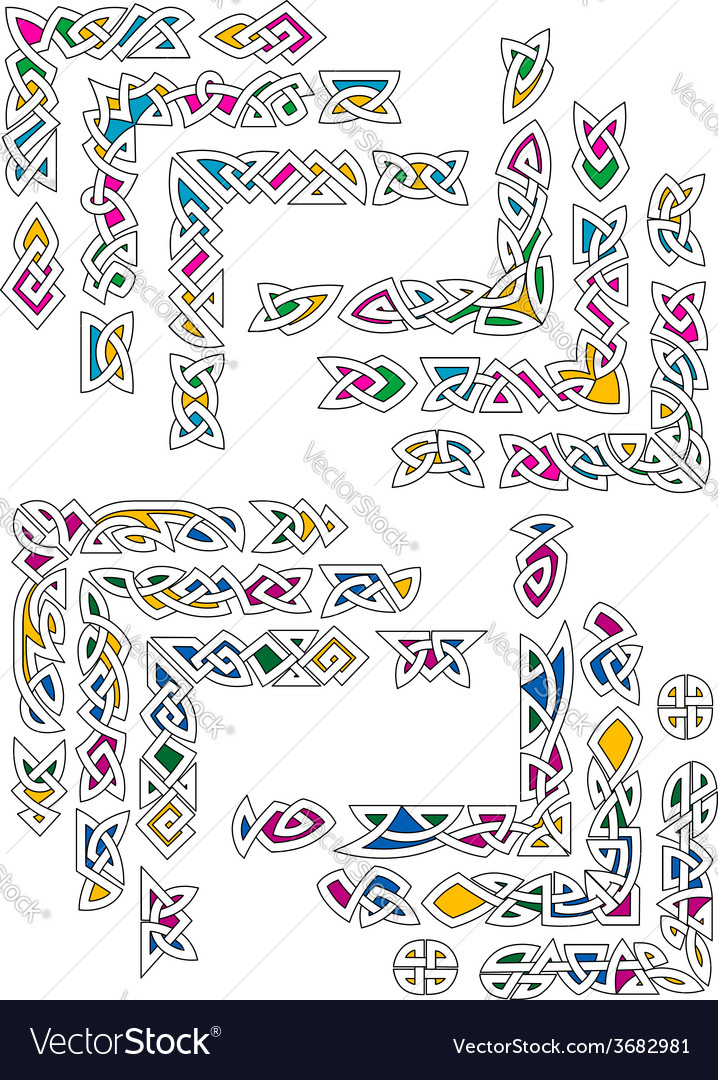 Celtic ornamental corners with colorful segments vector image