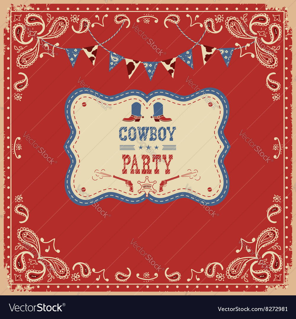Cowboy party card with text and decorations