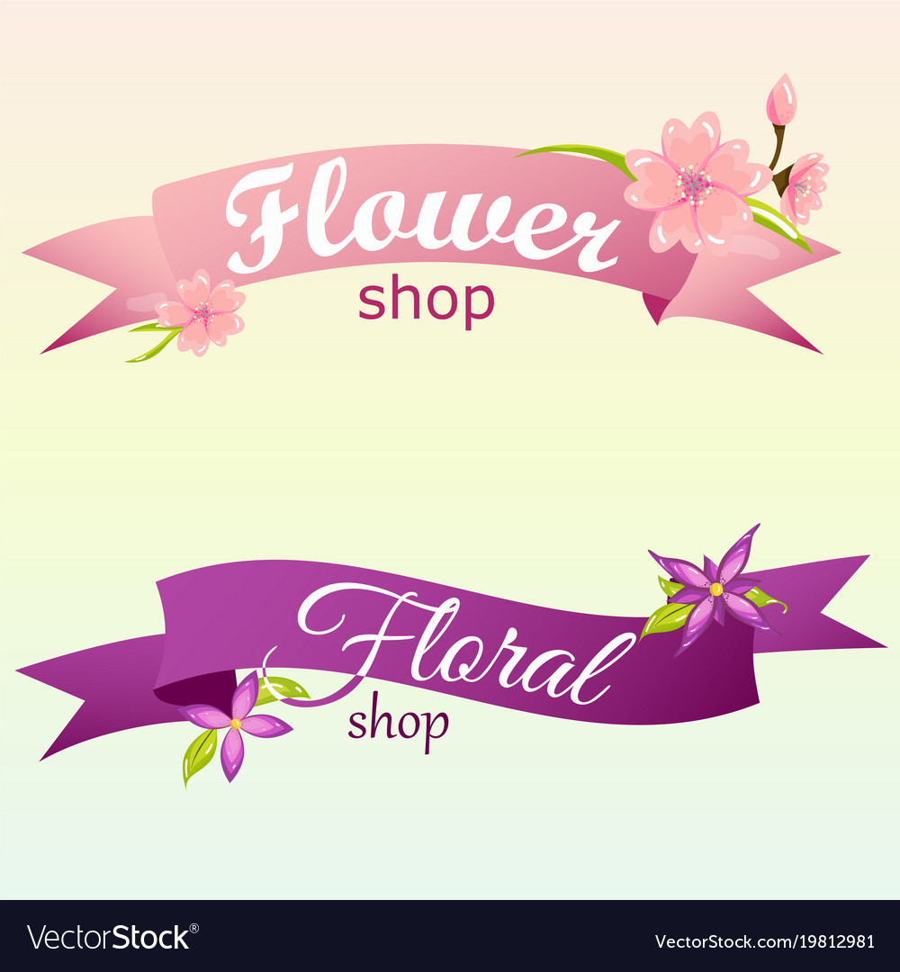 Creative logos for flower shop with banner