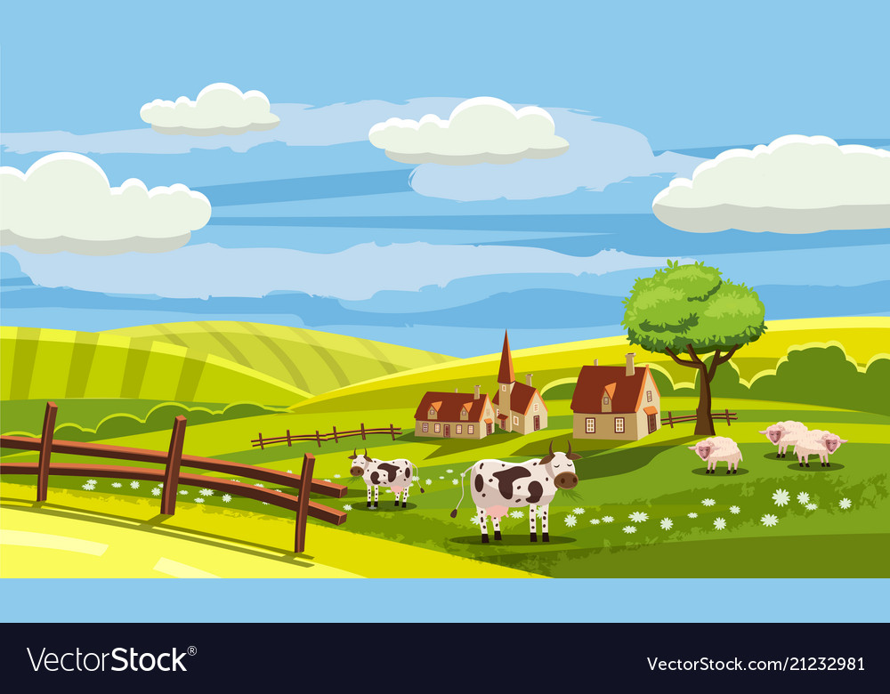 Cute rural landscape with farm cow flowers