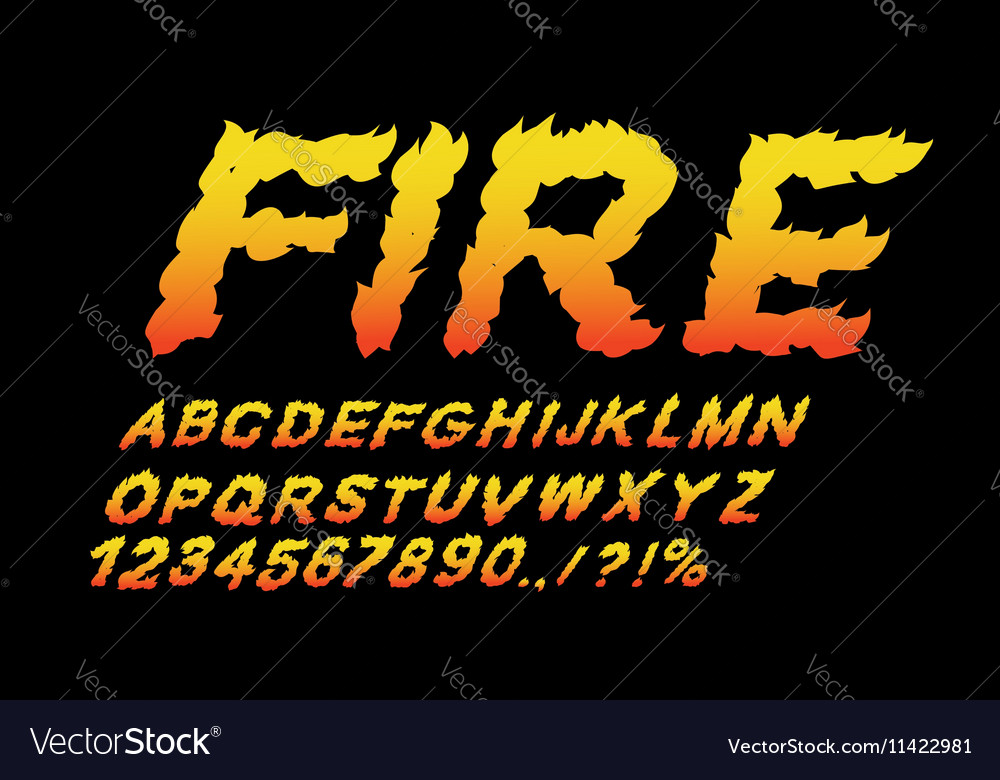 Fire Font Flame Abc Fiery Letters Burning Alphabet