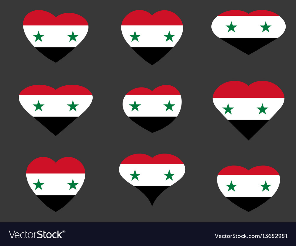 Hearts with the syrian flag i love syria syria vector image