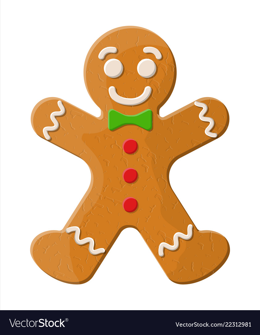 Holiday gingerbread man cookie Royalty Free Vector Image