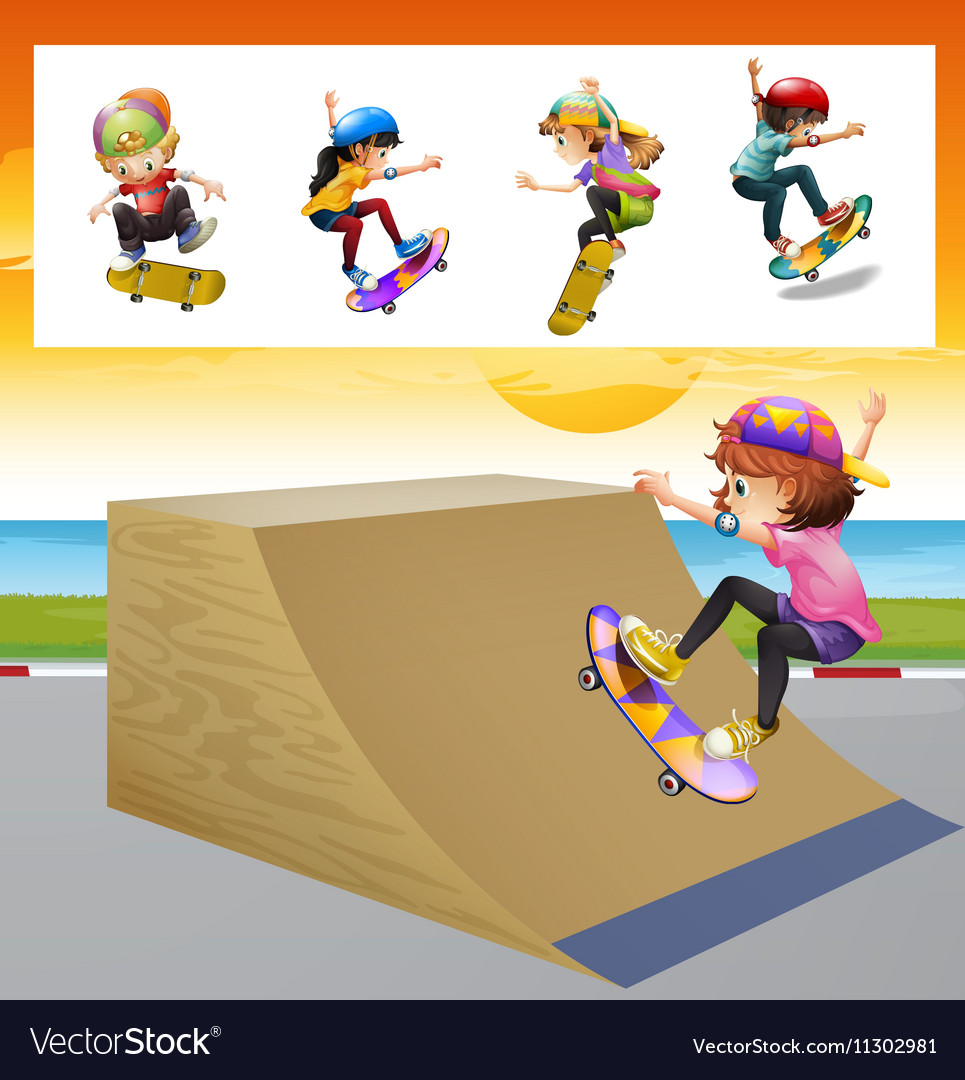 Kids playing skatboard on the ramp