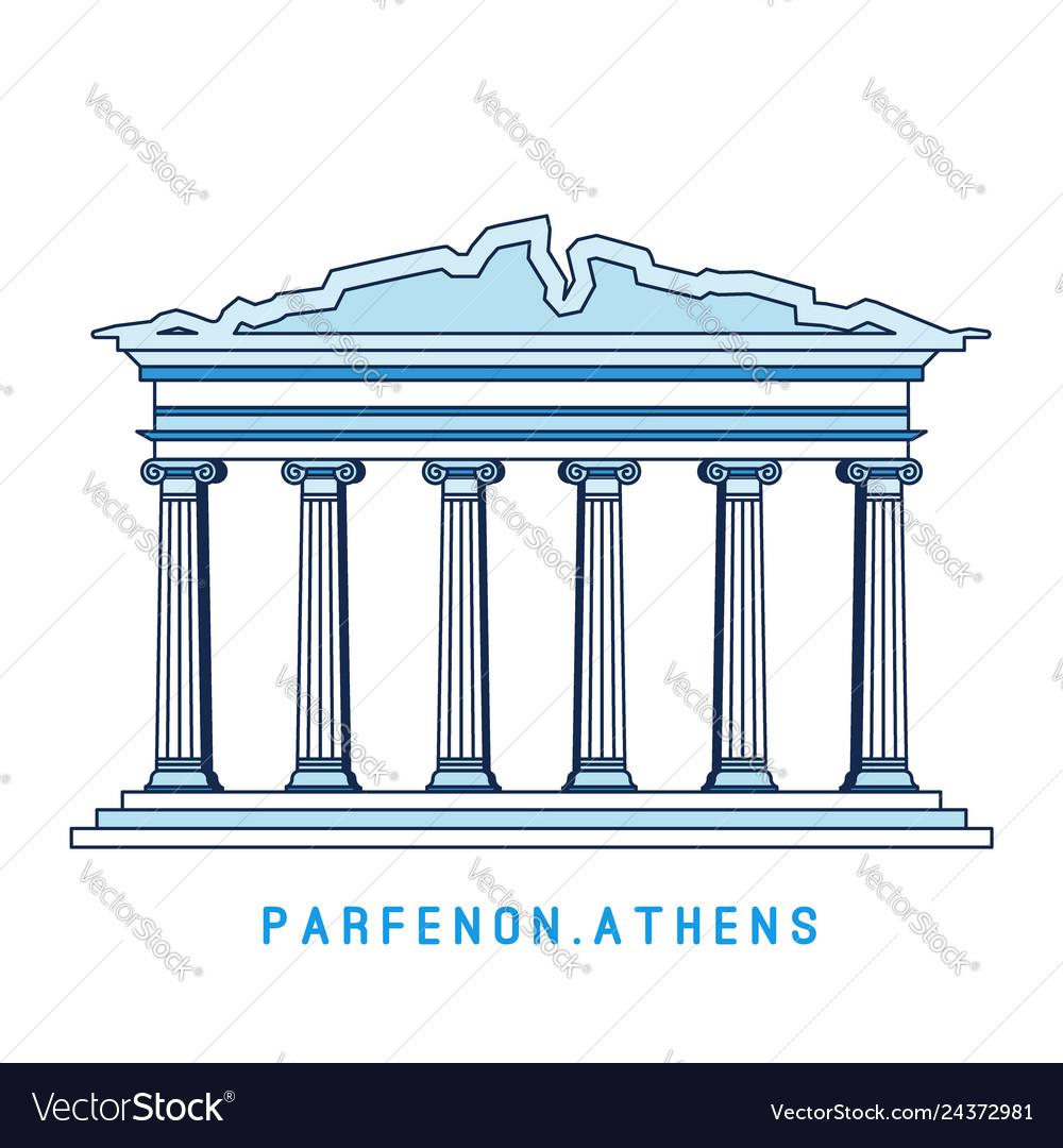 Line art parthenon athens greece european