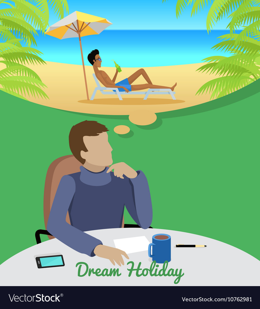 Man Dreaming About Vacation on the Beach