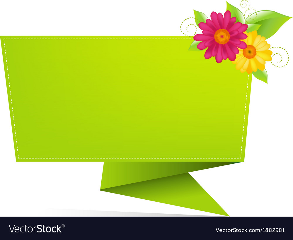 Origami Paper With Leaf And Flower