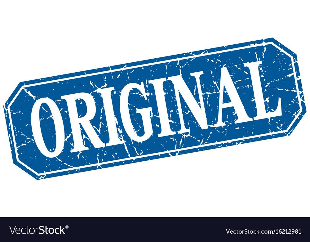Original blue square vintage grunge isolated sign