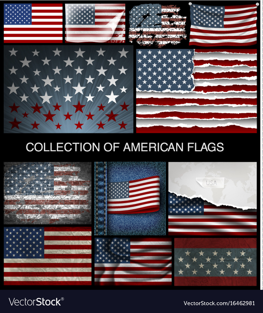 Set american flags developing and vintage