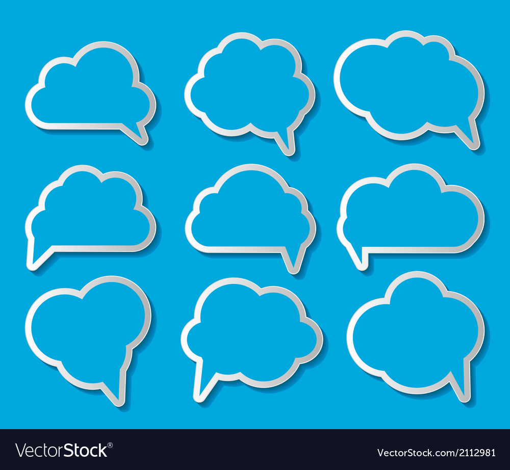 Set of Cloud Shaped Speech Bubbles