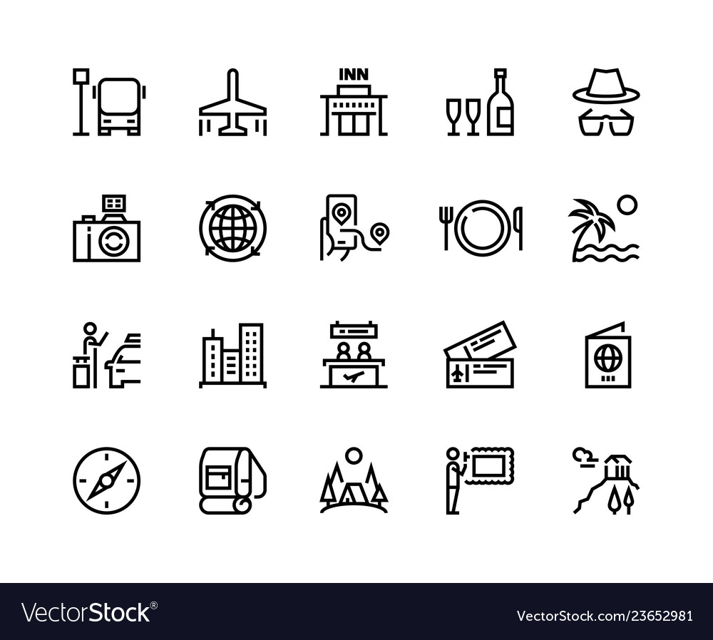 Travel line icons vacation plane tourism summer