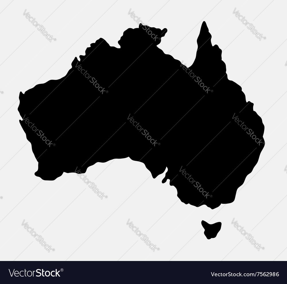 Australia island map silhouette