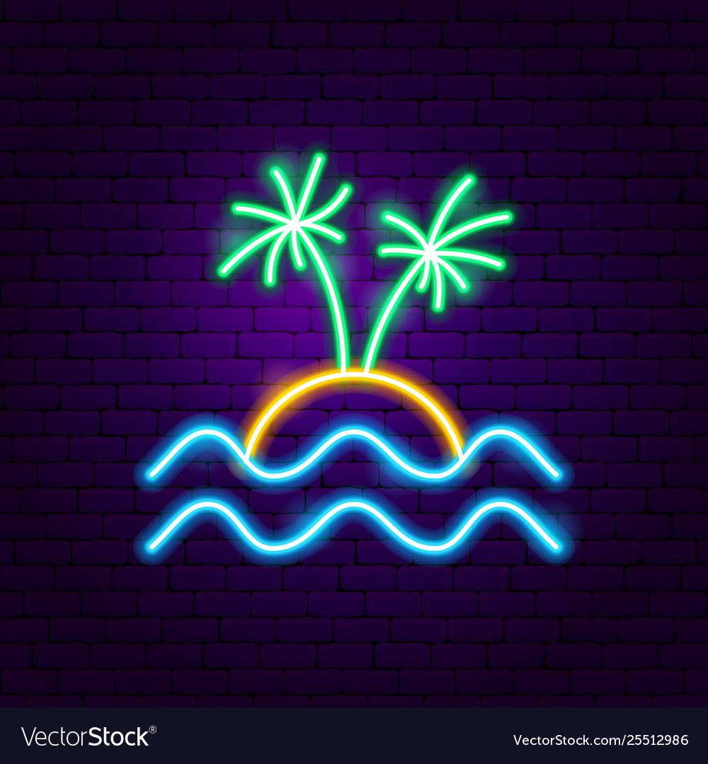 Beach palm neon label