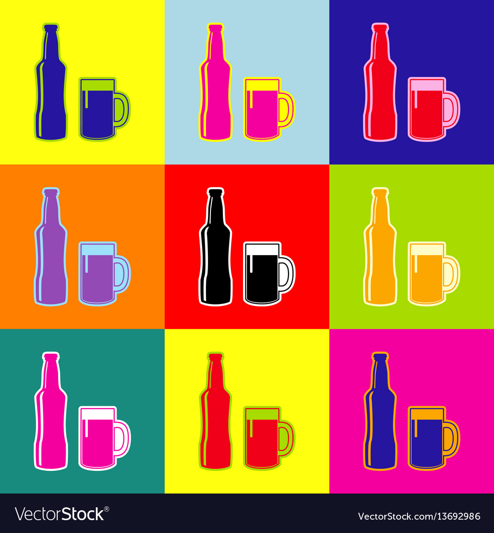 Beer bottle sign pop-art style colorful