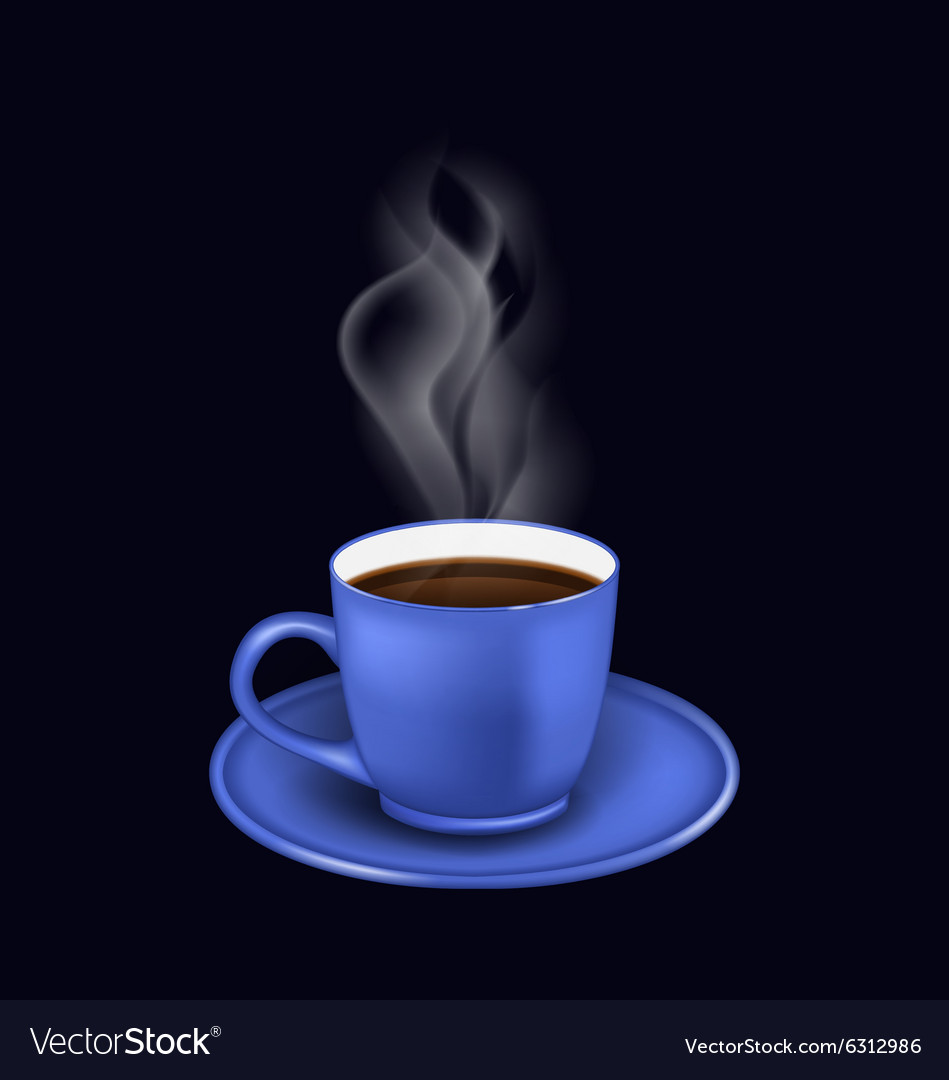 Blue coffee cup with steam