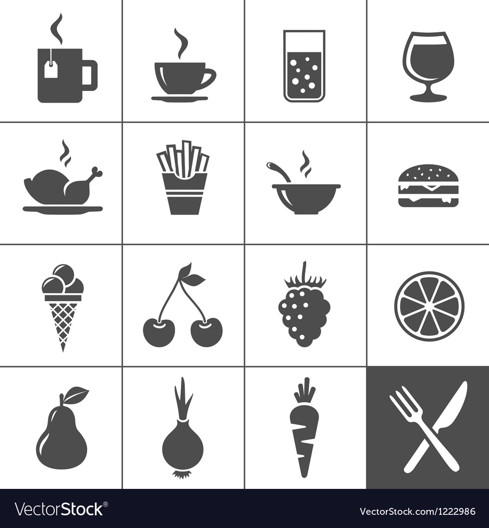 Food and drinks icon set Simplus series