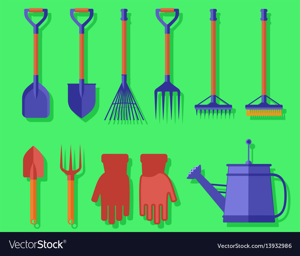 Garden isolated tools on green background