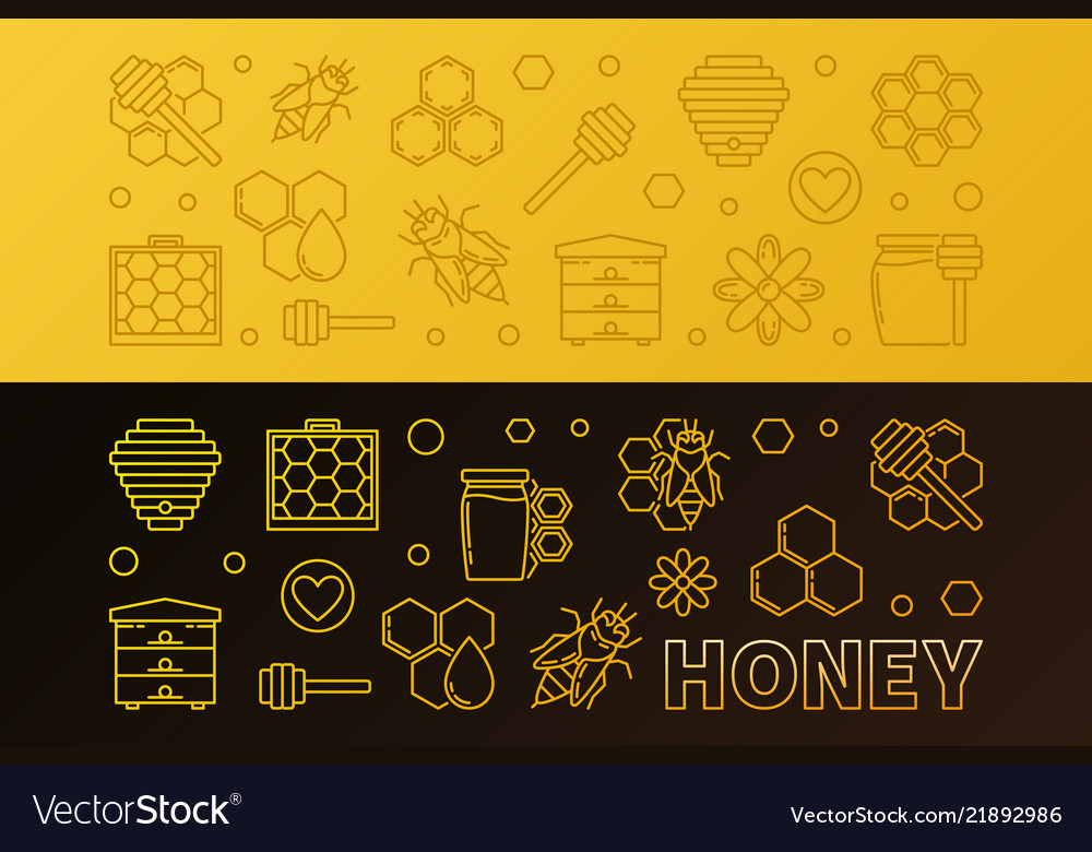 Honey colored linear horizontal banners set