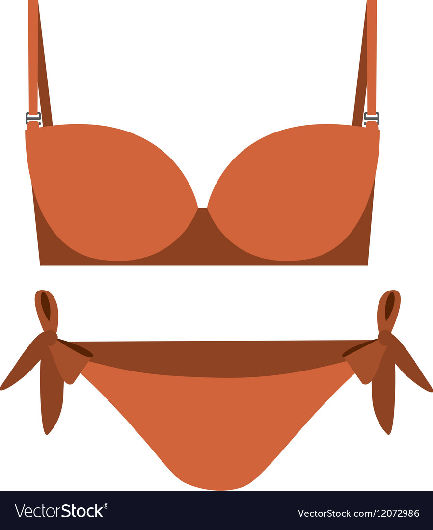 Orange set bikini with bow vector image