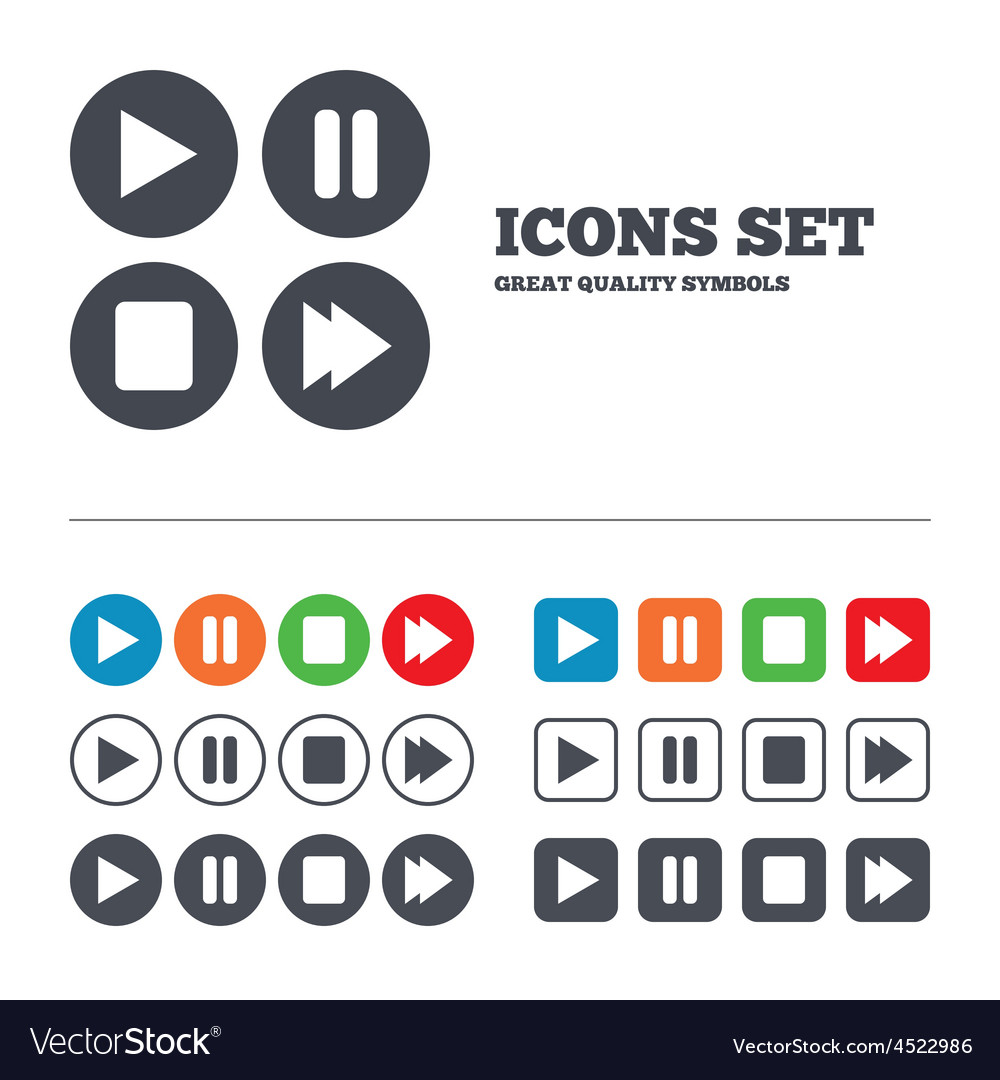 Player navigation icons Play stop and pause vector image