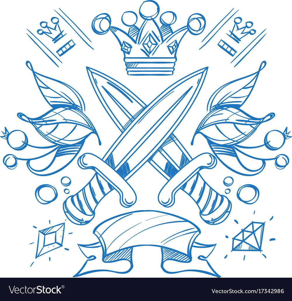 Outline King Crown Tattoo Design