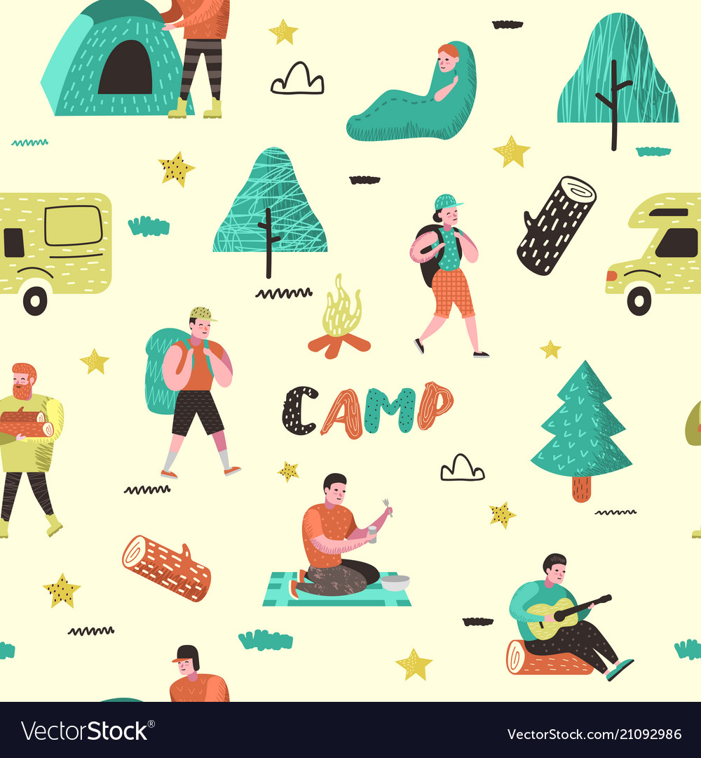 Summer camping seamless pattern people in camp vector