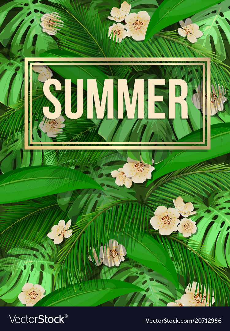 Summer tropical leaf pattern background with text