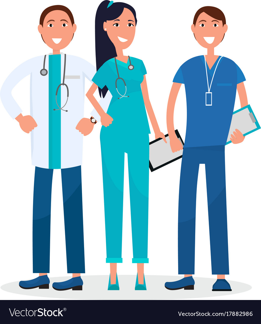 Three physicians standing and smiling graphic