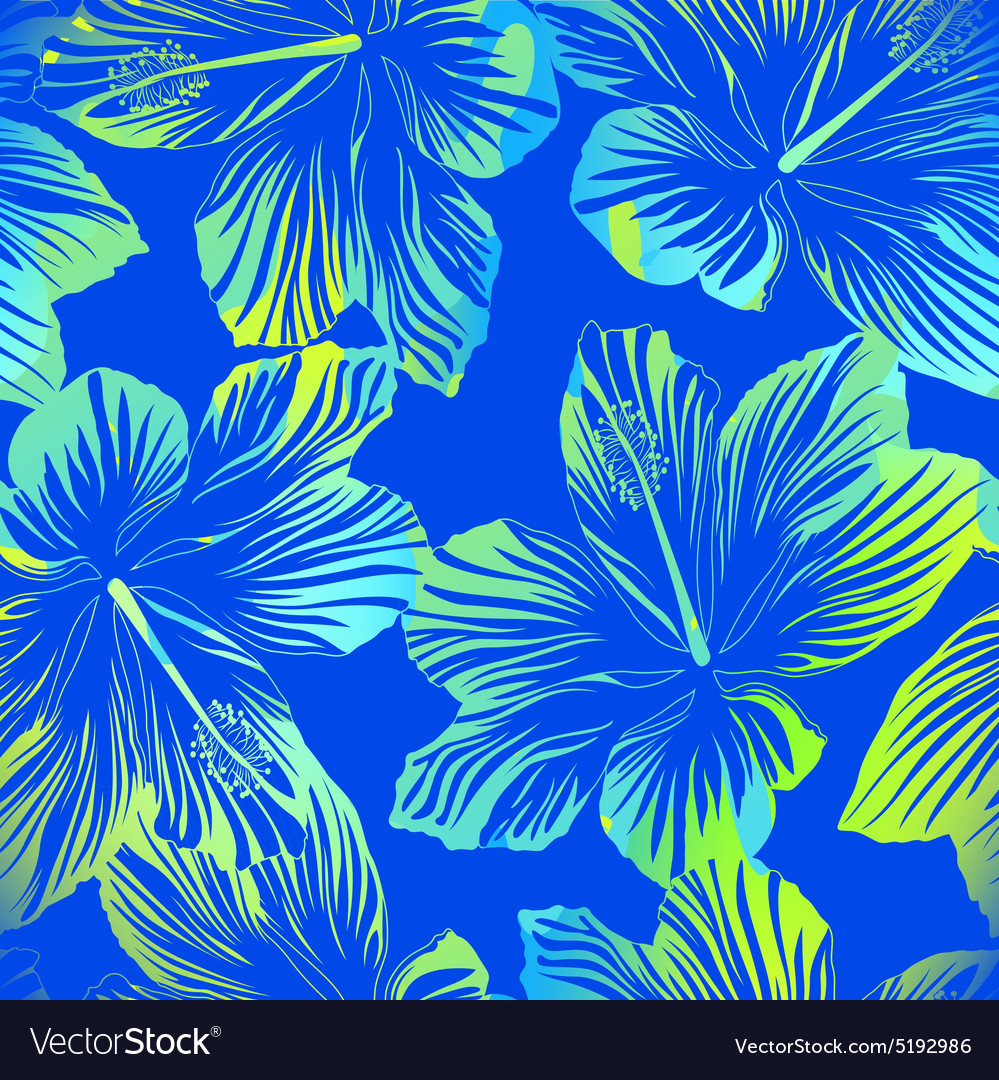 Tropical Flowers Blue Seamless Pattern With Vector Image