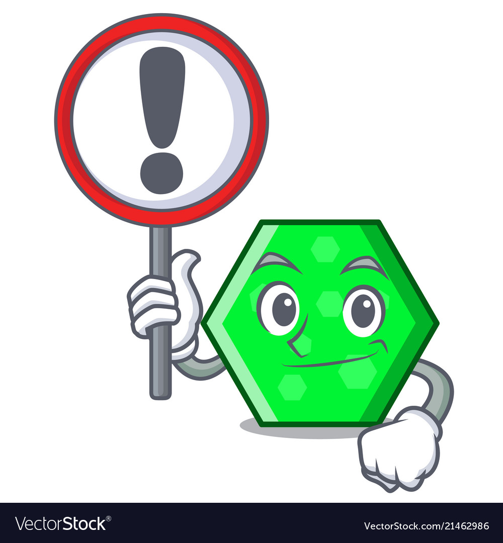 with sign octagon character cartoon style vector image