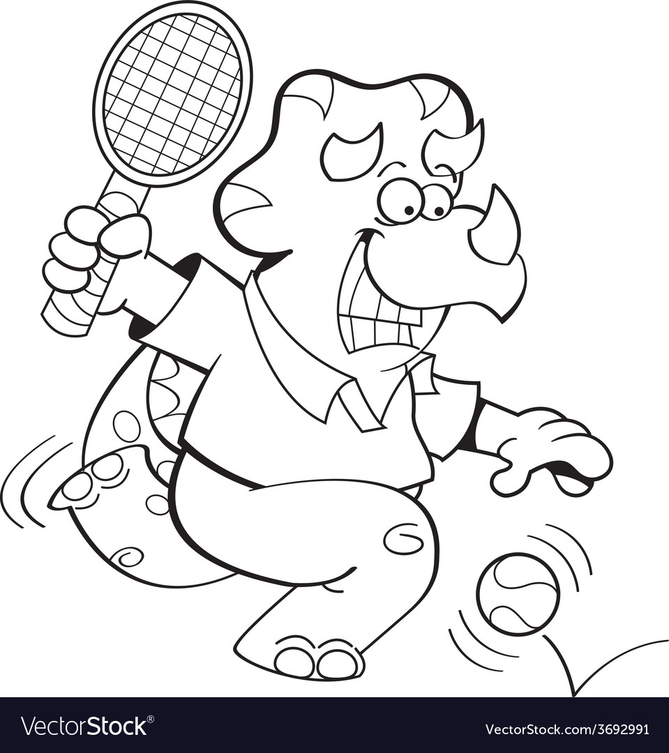 Cartoon triceratops playing tennis vector image