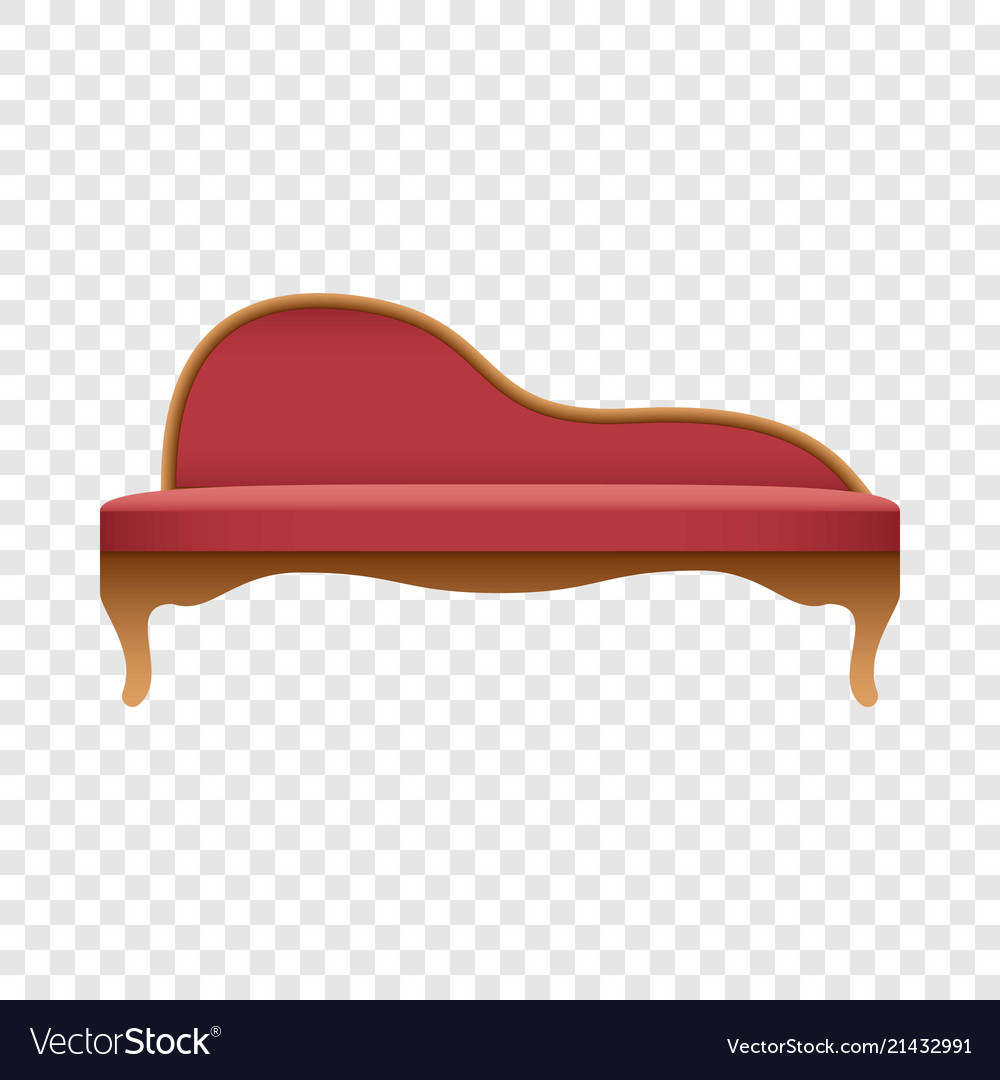 Curved red sofa mockup realistic style
