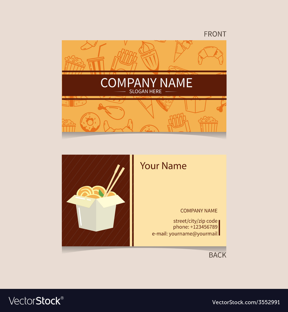 fast food business card royalty free vector image