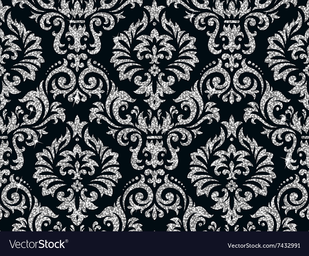 Floral Silver Wallpaper Royalty Free Vector Image
