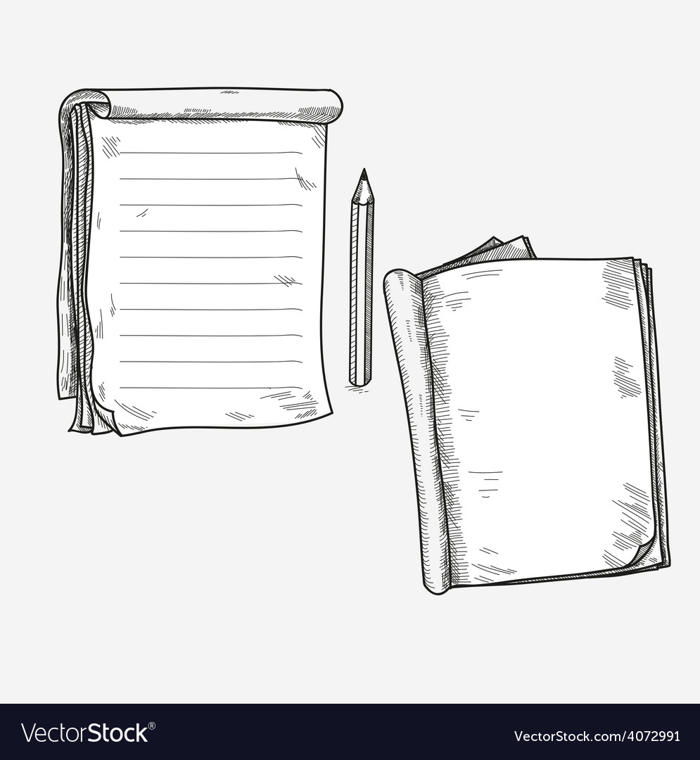 Hand drawn doodle sketch open notebook clear page