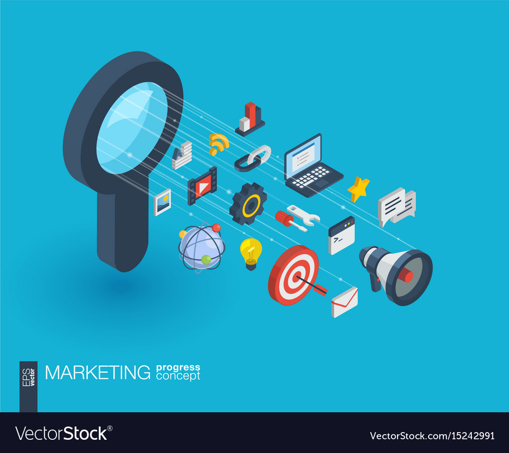 Marketing integrated 3d web icons growth and