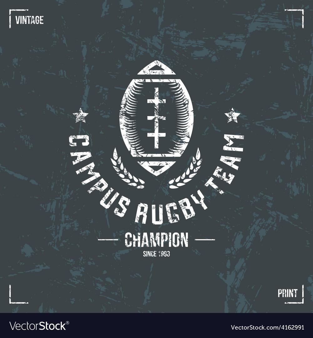Rugby team ball emblem