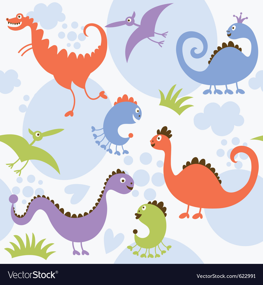 Seamless pattern with cute dinosaur